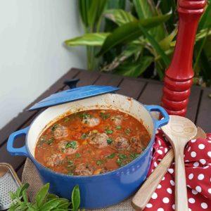 Hearty Winter One Pot Meatball Pasta Bake